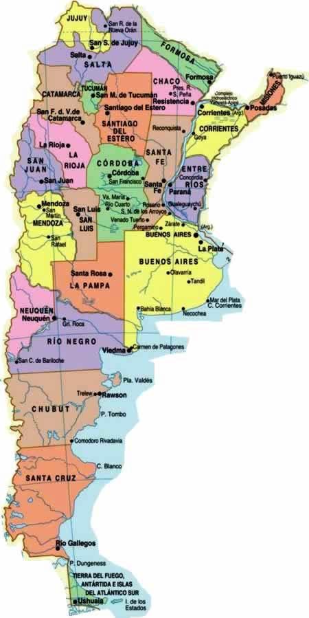Mapa de argentina con Provincias y Capitales