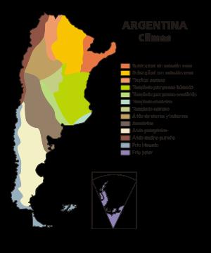 Mapa de climas de Argentina