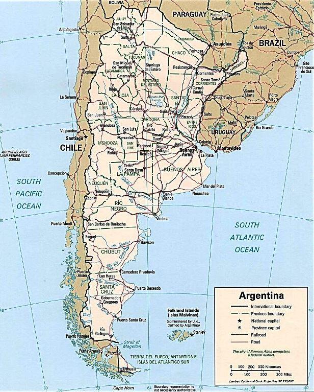 Mapa hidrológico de Argentina detallado