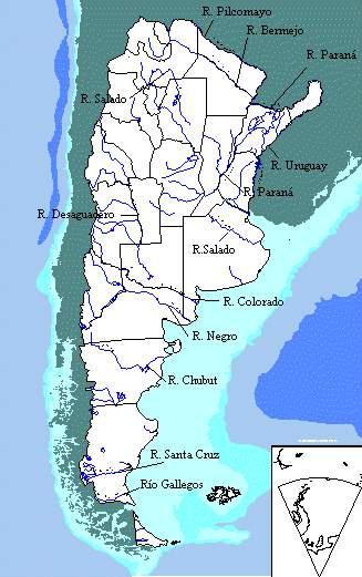 Mapa hidrográfico de Argentina