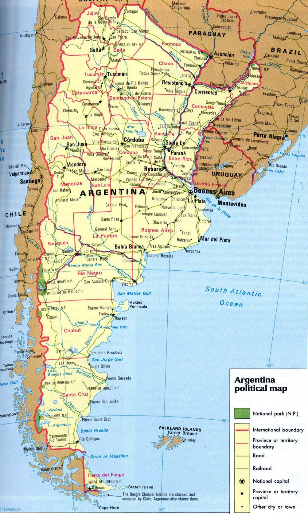 Mapa de rutas de Argentina