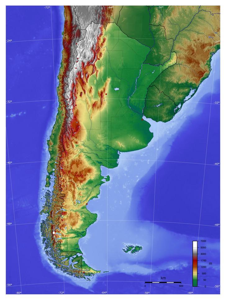Mapa orográfico de Argentina