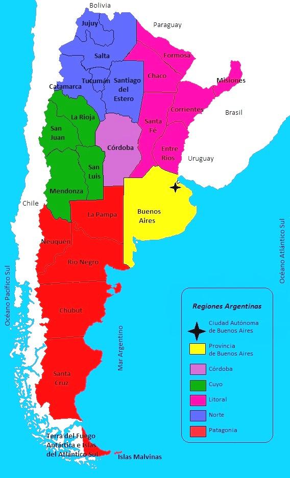 Mapa de regiones geográficas de Argentina