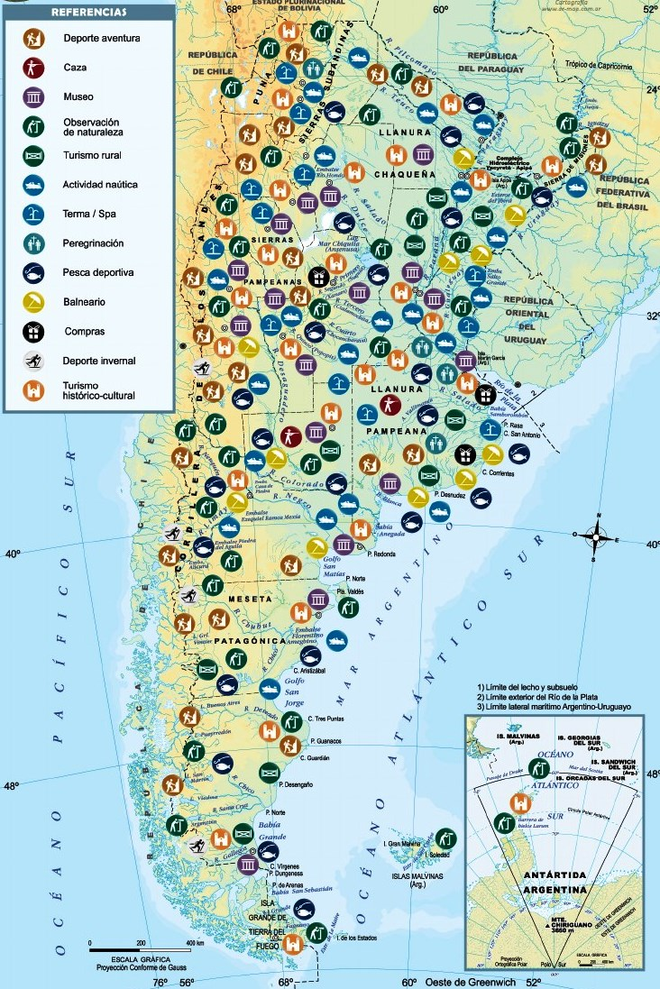 Mapa turístico de Argentina