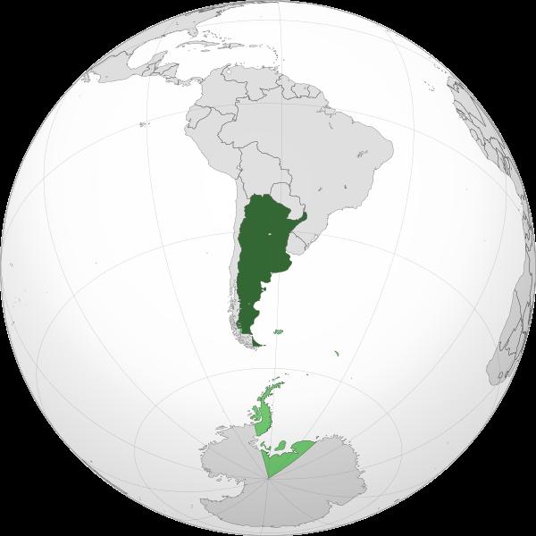 Mapa de ubicación geográfica de Argentina